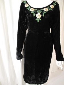 Late 1930's Black silk velvet jewelled vintage gown. Label; Gusti **SOLD**